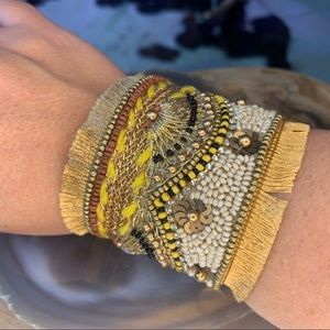 NWT! Santamaria Beaded Gold Boho Cuff Bracelet